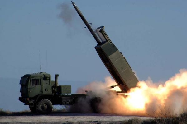 High Mobility Artillery Rocket System, pictured,