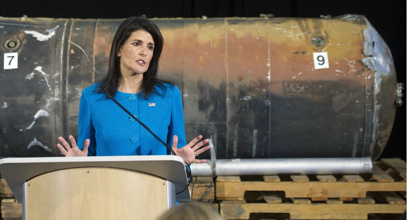 U.S. Ambassador to the U.N. Nikki Haley speak in front recovered segments of an Iranian rocket