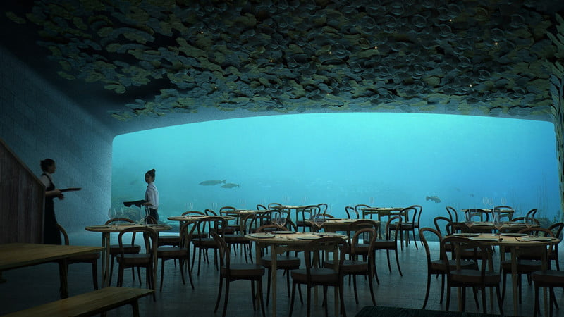 The semi-submerged restaurant 15 feet below the waters