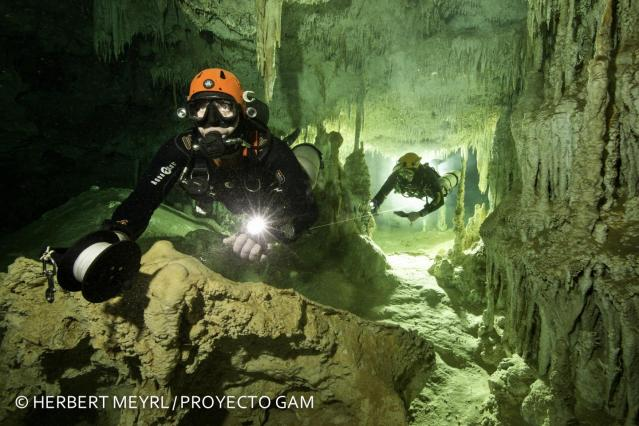 The largest underwater cave in the world was discovered in Mexico