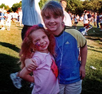 Six-year-old Liberty Battaglia (left) and her 9-year-old sister, Faith,