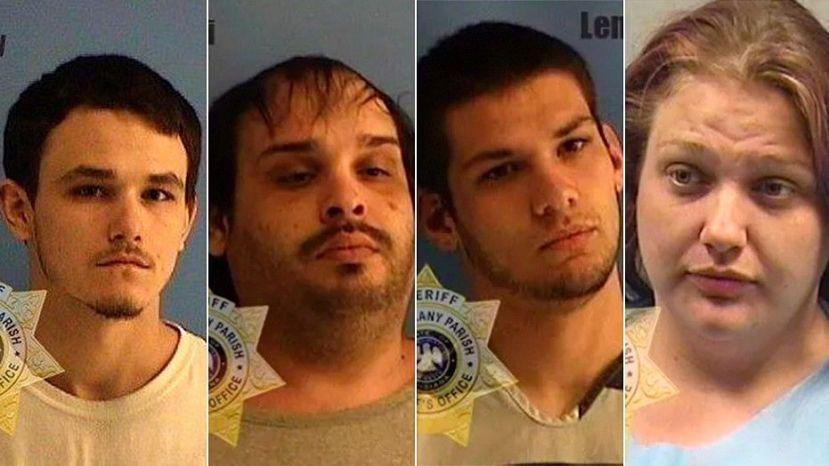 Jason Landry, Steven Olivieri, Derrion Lemoine, and Brittney Savell were arrested Tuesday