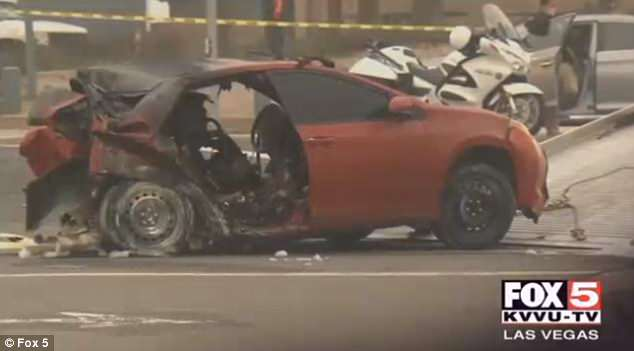 The red Toyota was left mangled at the intersection of PCH and Magnolia