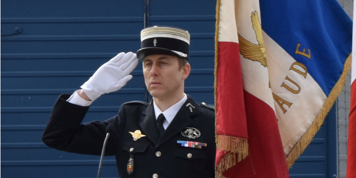 The late Arnaud Beltrame, the gendarme who voluntarily took the place of a hostage