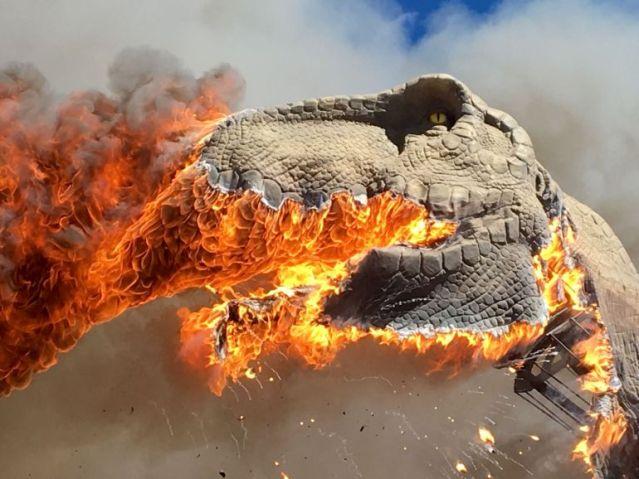 Life size animatronic T-Rex burns in Colorado