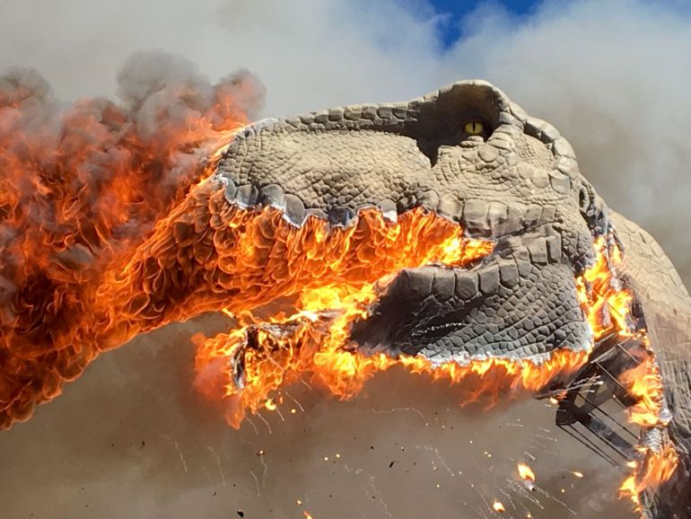 Life size animatronic T-Rex burns in Colorado