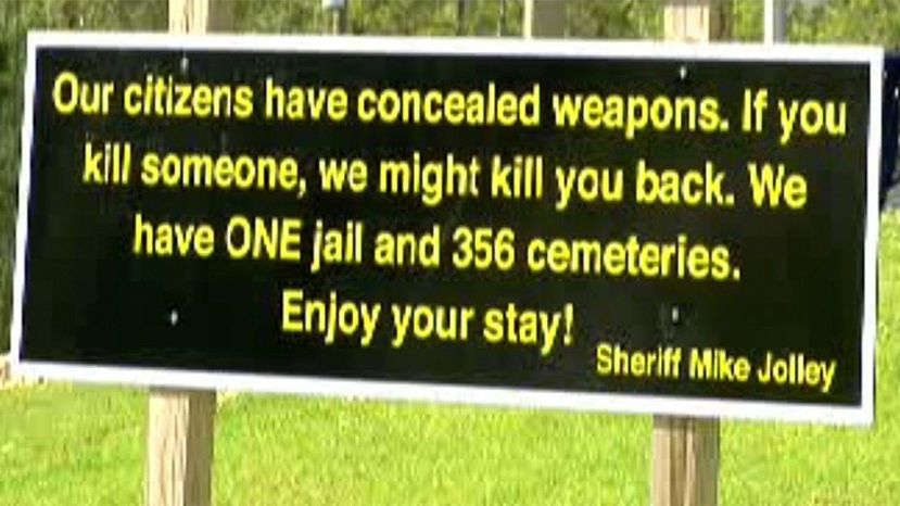 Sheriff Mike Jolley's new sign has gone viral