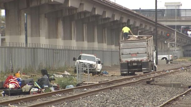 homeless encampments near railroad tracks