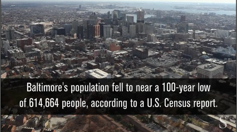 Baltimore population falls, nearing a 100-year low,