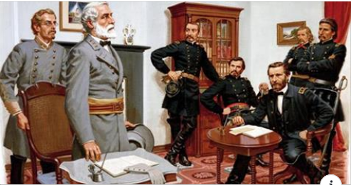 Confederate General Robert E. Lee surrenders