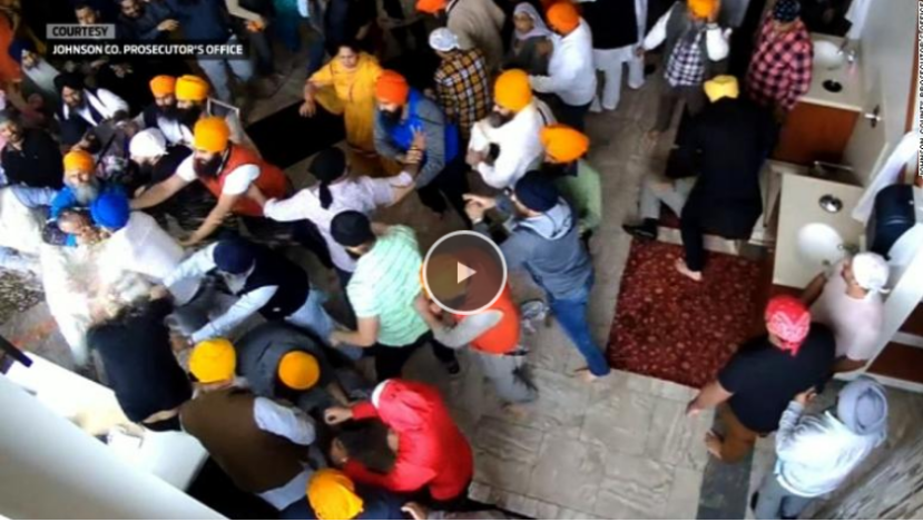 brawl at a Sikh temple