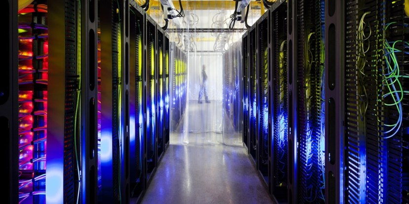 A Google campus-network room at a data center in Council Bluffs