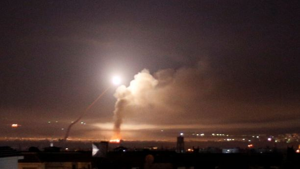 Missile fire is seen from Damascus, Syria, May 10, 2018.  (Reuters)