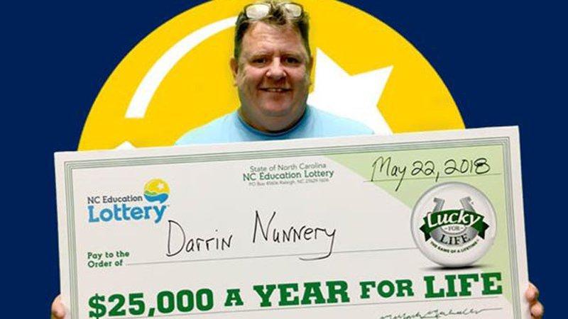 Darrin Nunnery, of Linden,Lucky for Life $25,000 winner.