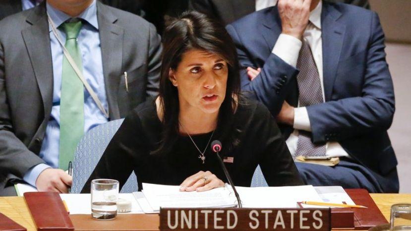 United Nations U.S. Ambassador Nikki Haley address a U.N. Security Council