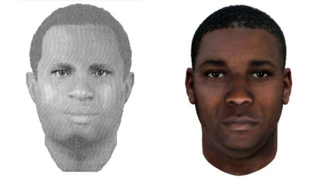 Authorities have released a composite sketch of the suspect made in 2003, left, and an age-progressed composite sketch showing what he may look like today.