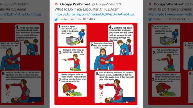 Occupy Wall Street received backlash after posting a cartoon condoning people to murder ICE agents.  (Twitter)