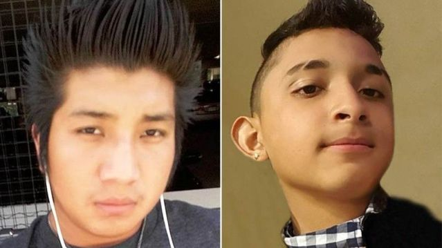 Edvin Escobar Mendez, 17, of Falls Church, left, and Sergio Arita Triminio, 14,