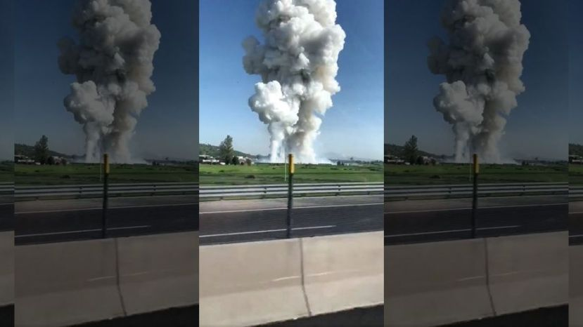 Smoke rises after fireworks blast in