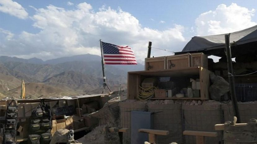 A U.S. flag is seen at a post in Deh Bala district,