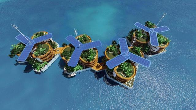 The solar panels that will provide clean energy, along with wind turbines, to the