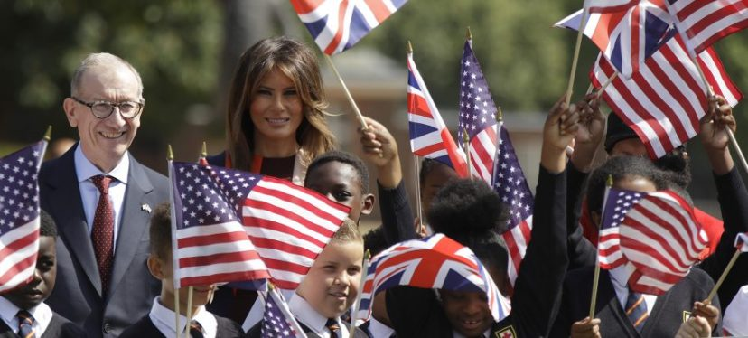 U.S. First Lady Melania Trump and Philip May,