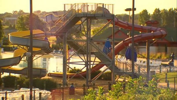 The 8-year-old boy was thrown off a water slide platform on Tuesday,