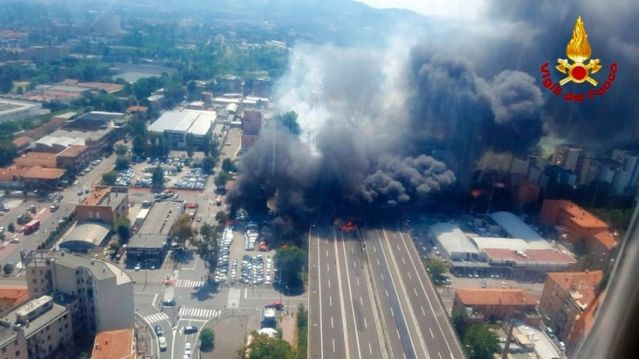 The explosion was reportedly caused by an accident involving a truck that was transporting flammable substances
