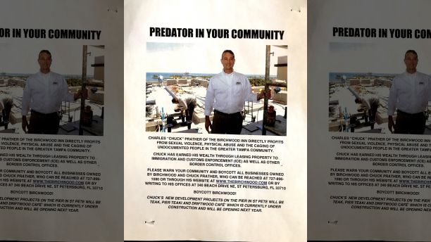 This flier was posted around the St. Petersburg downtown area accusing Chuck Prather of being a 'predator'