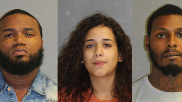 Kelsey McFoley, left, Melissa Rios Roque and Benjamin Bascom under arrest,
