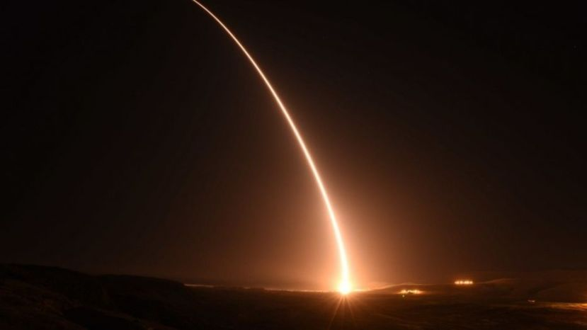 File photo - An unarmed U.S. Air Force Minuteman III intercontinental ballistic missile launches
