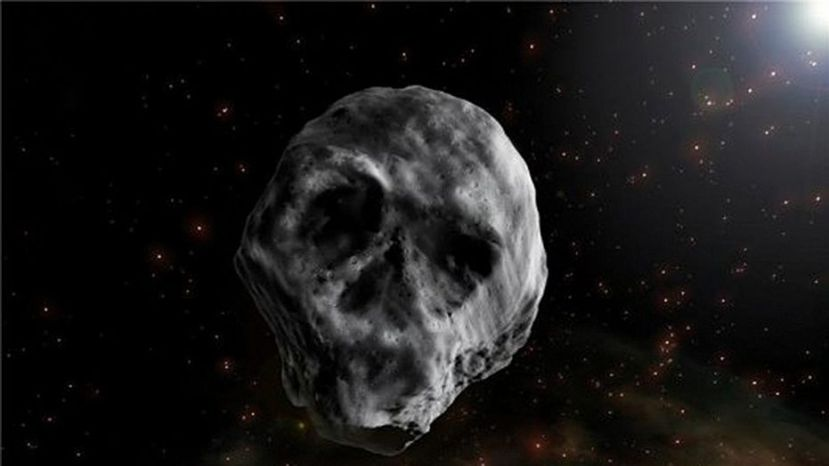 Artist's impression of the asteroid, which, in certain light conditions, resembles a human skull.