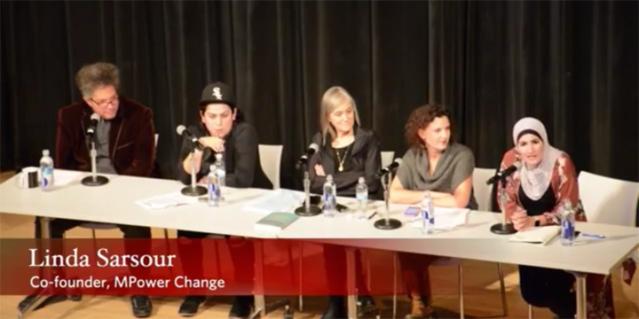 Women's March co-organizer Linda Sarsour (far-right)