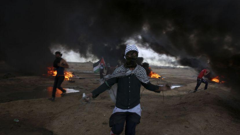 Protesters run