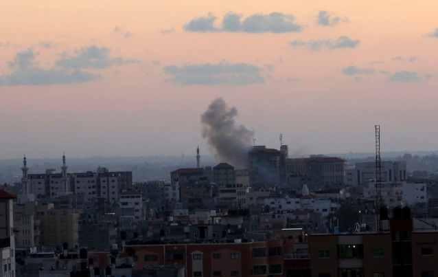 Smoke rises following Israeli strikes