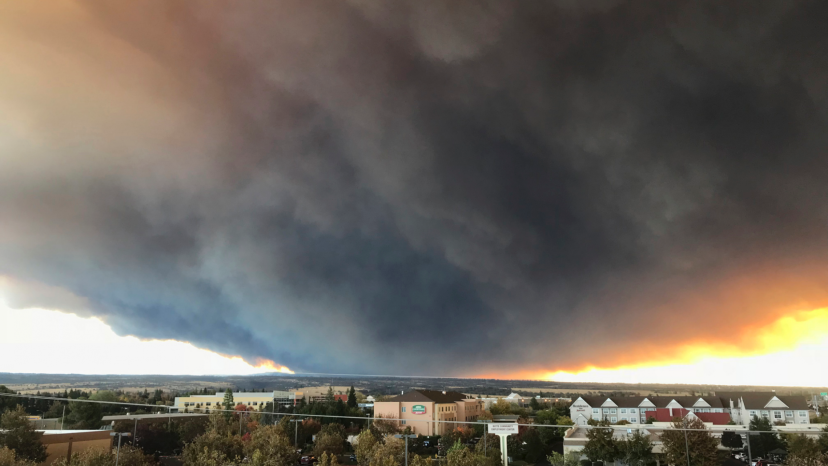 The massive plume from the Camp Fire, burning in the Feather River Canyon near Paradise, Calif.,