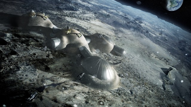 An artist's impression of a moon village.