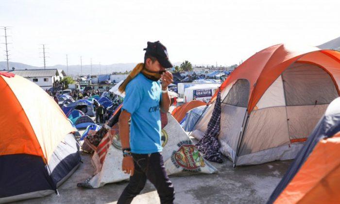 The new migrant camp, 10 miles from the U.S. border, in the Mariano Matamoros neighborhood of Tijuana, Mexico,