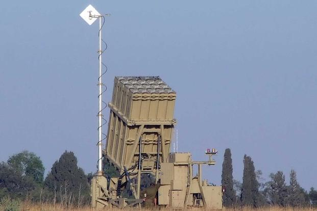 An Iron Dome launcher deployed next to Sderot, Israel,