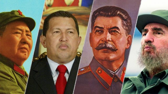 From left to right: Mao Zedong, Hugo Chavez, Joseph Stalin and Fidel Castro.