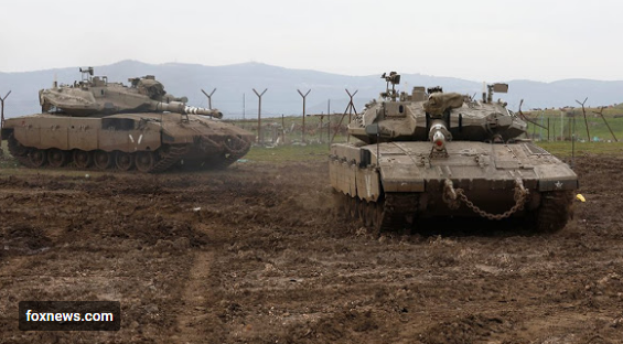 Israeli army Merkava tanks gather