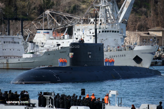A Russian B-268 Veliky Novgorod Kilo class diesel-electric submarine