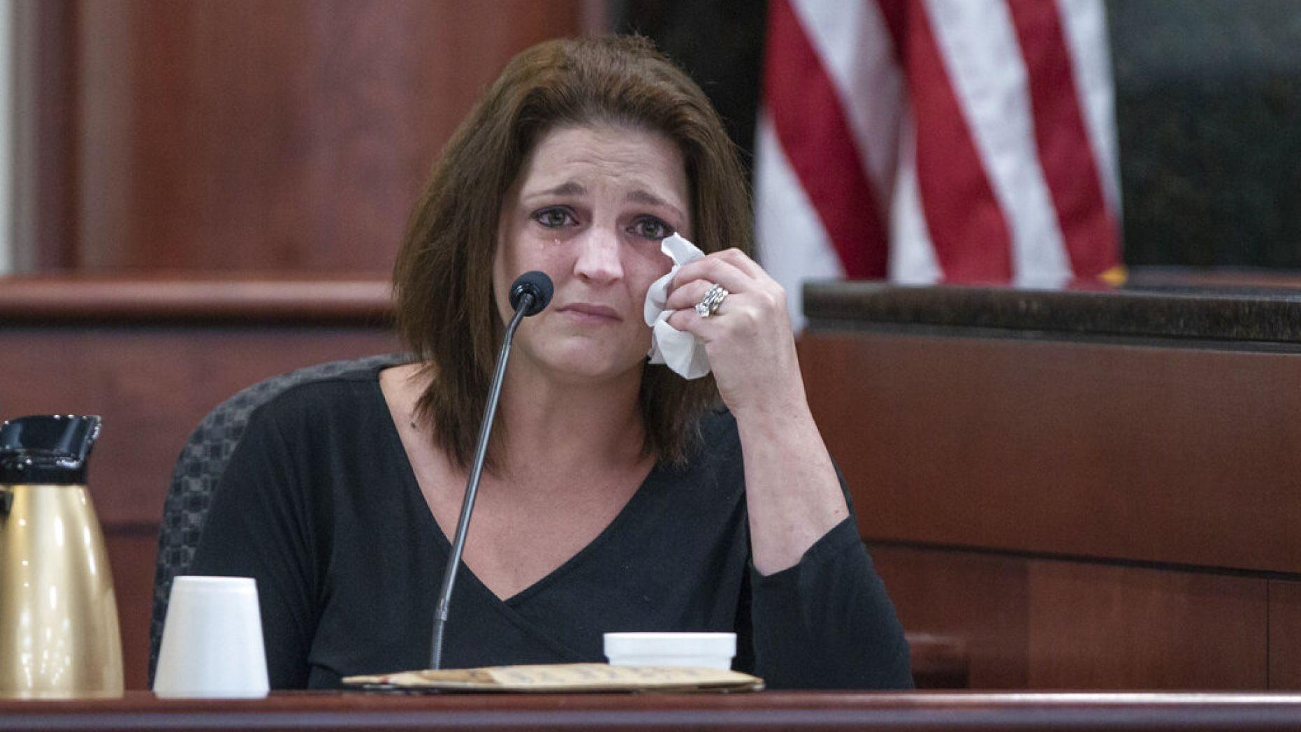 Amber Jones cries