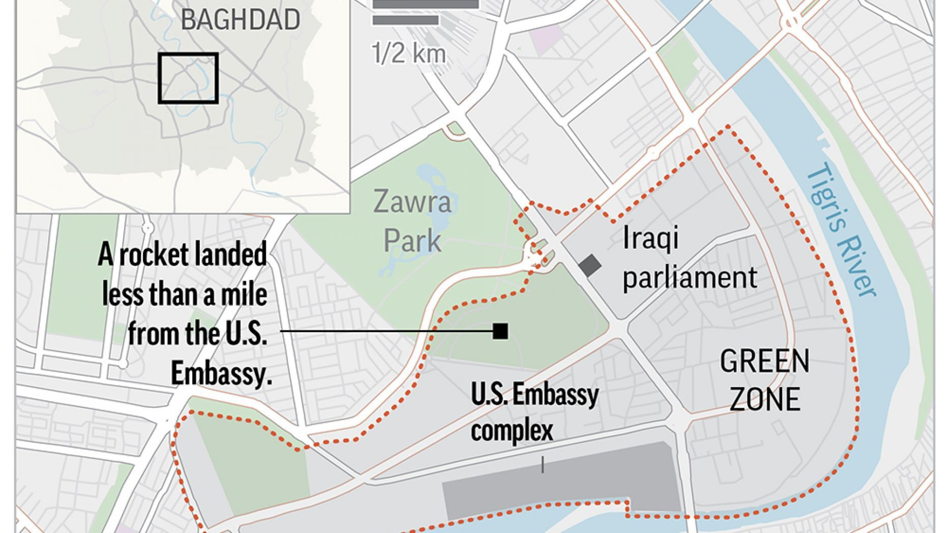 Map locates the Green Zone in Baghdad, Iraq.;