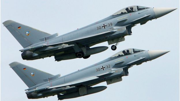 File picture of two Eurofighter jets stationed at the same base near Rostock.
