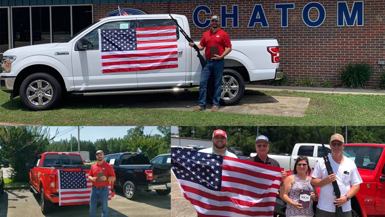 An Alabama car dealership is offering a free bible, flag, and shotgun with every purchase.(Facebook / ChatomFord)