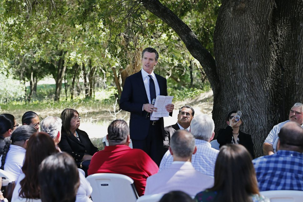 Gov. Gavin Newsom addresses a meeting with Native American tribal leaders,