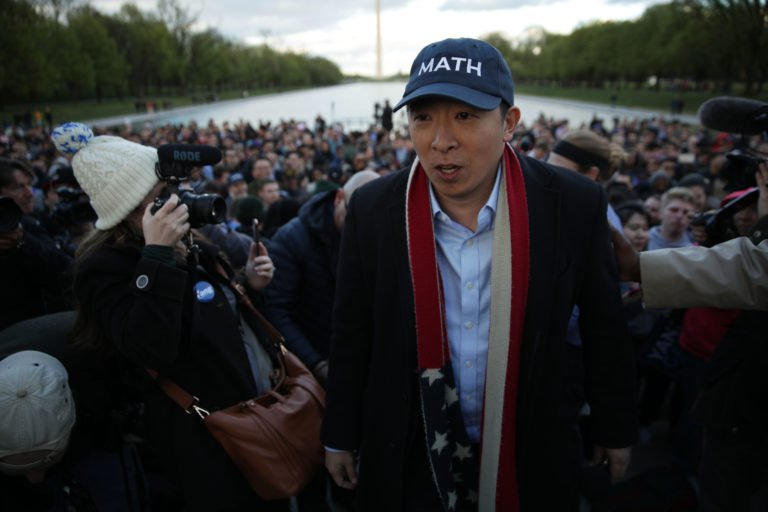 Democratic U.S. presidential hopeful Andrew Yang hosts a campaign rally