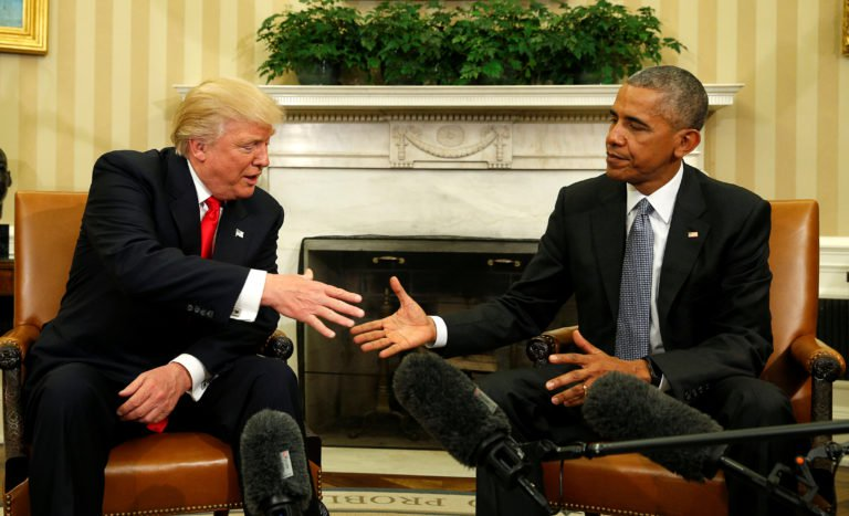 U.S. President Barack Obama meets with President-elect Donald Trump