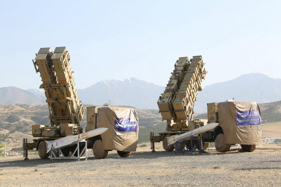 Iranian Defense Ministry shows new surface-to-air missile batteries in Okhordad, Iran.